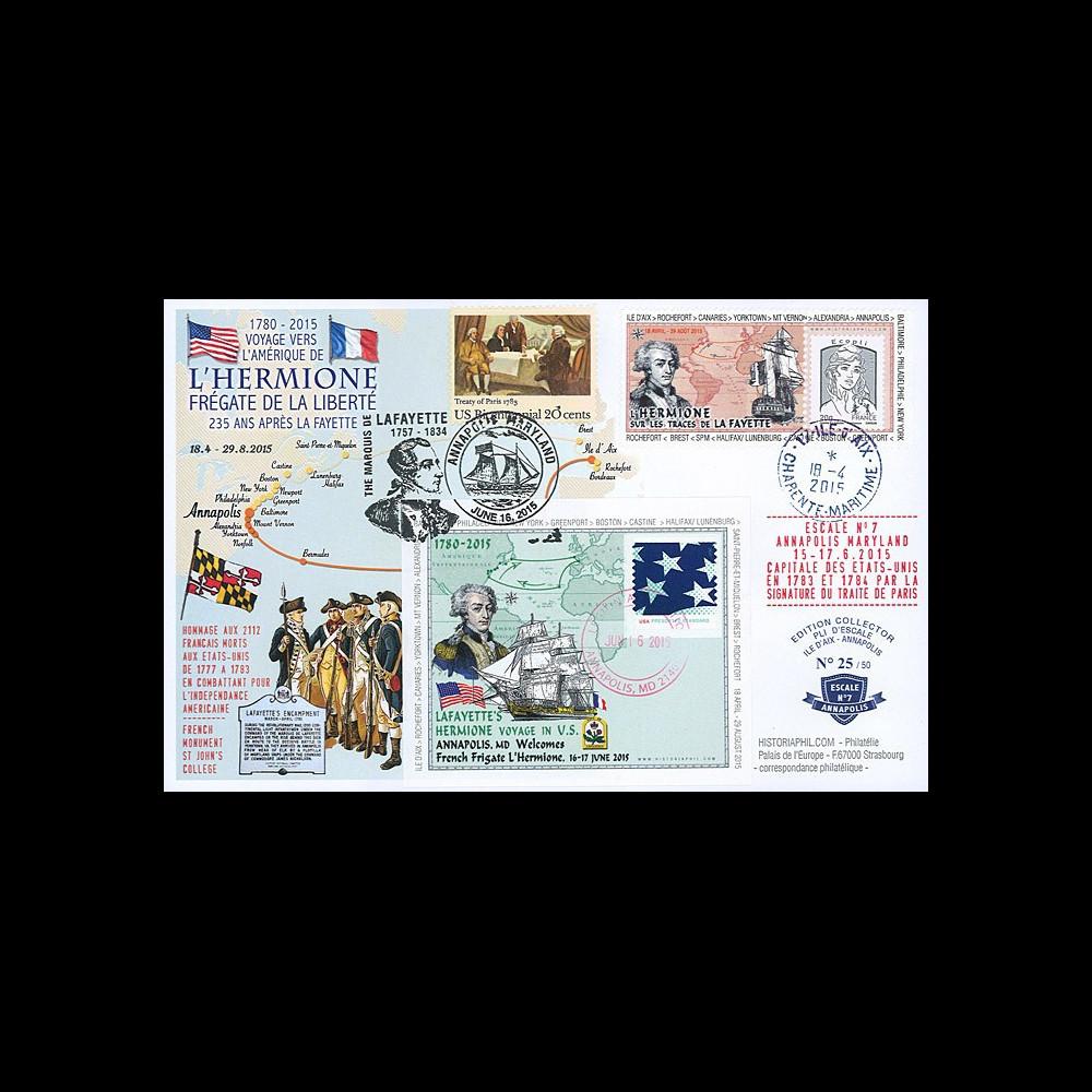 "HLF15-9 : 2015 - Maxi FDC FRANCE-USA ""Escale n°7 Annapolis - L'HERMIONE / LA FAYETTE"""