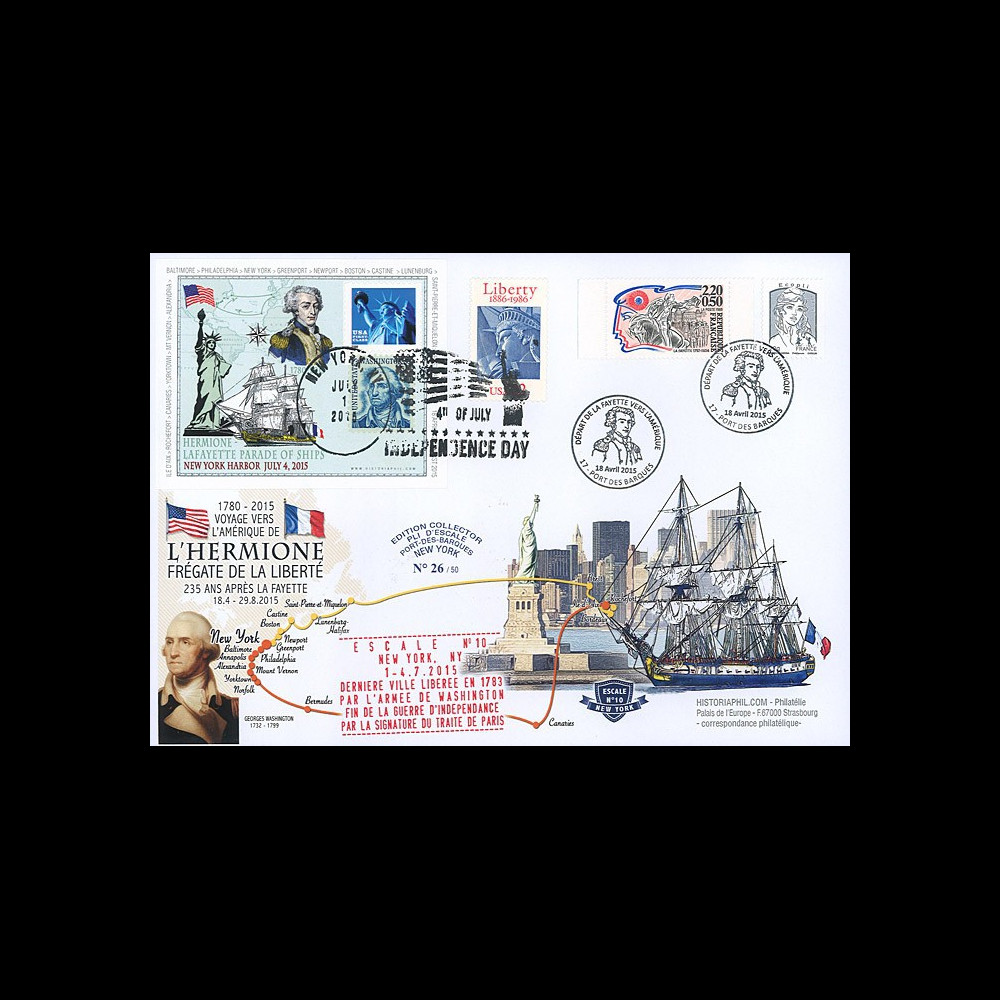 "HLF15-13 : 2015 - Maxi FDC FRANCE-USA ""Escale n°10 New York - L'HERMIONE / LA FAYETTE"""