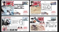 """W2-VJ2011PH : 2011 - Série 4 FDC USA """"70 ans Attaque de Pearl Harbor par le Japon - Entrée en Guerre des USA"""""""
