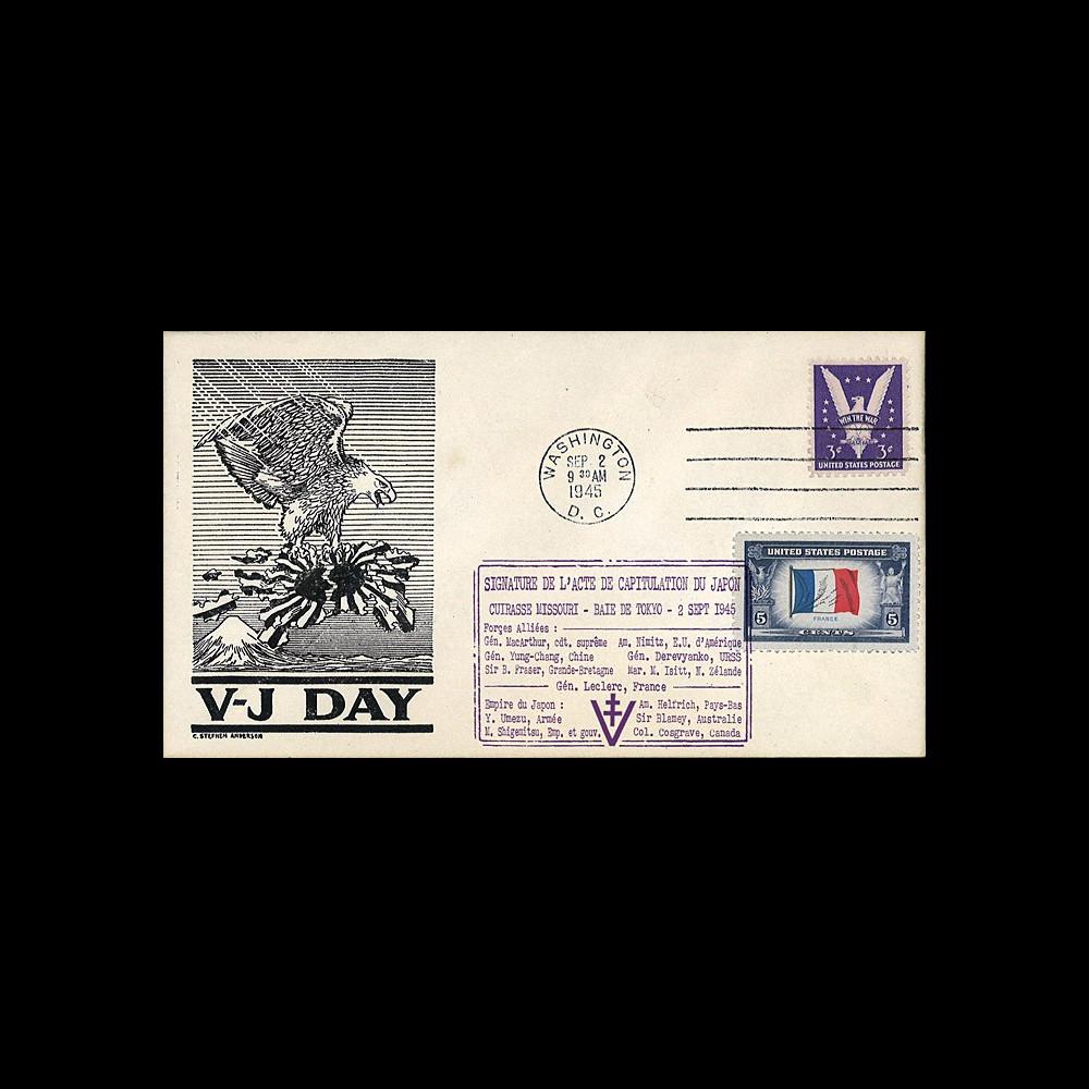 """W2-VJ1945L1 : 1945 - Authentique Enveloppe Patriotique USA """"V-J DAY - CAPITULATION DU JAPON"""""""
