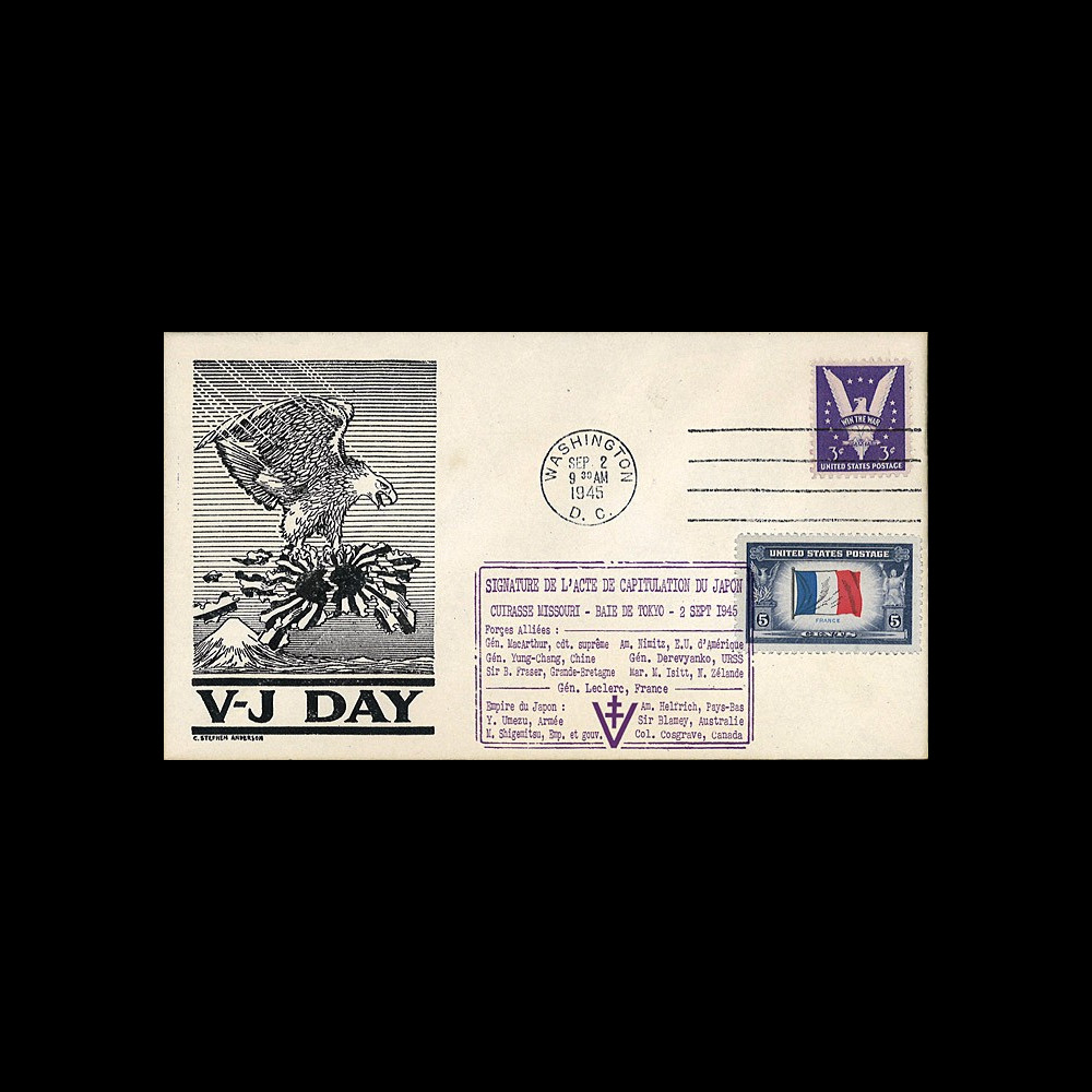 "W2-VJ1945L1 : 1945 - Authentique Enveloppe Patriotique USA ""V-J DAY - CAPITULATION DU JAPON"""