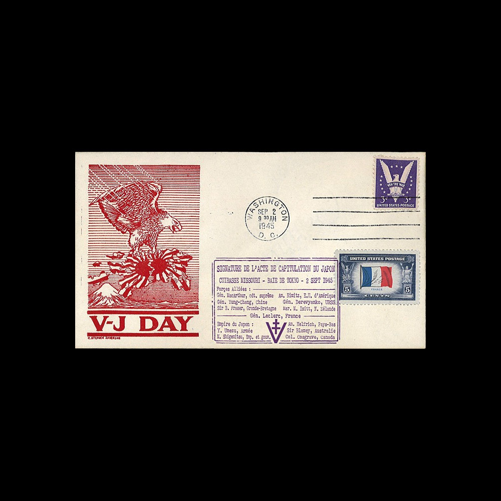 """W2-VJ1945L2 : 1945 - Enveloppe Patriotique USA """"V-J DAY - CAPITULATION DU JAPON"""""""