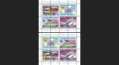 """A380-273/274BD : 2015 - Série 2 blocs vignettes """"A380 Lufthansa 1er vols Francfort-Los Angeles"""""""