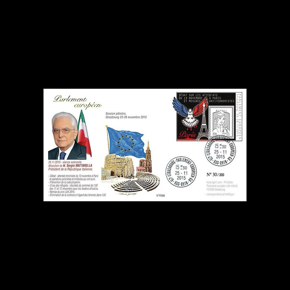 "PE688 : 11-2015 - FDC Parlement européen ""Pdt italien Mattarella / Attentats de Paris"""