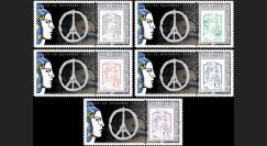 """PE687-PT1/5 : Série 5 Marianne """"Hommage aux victimes des Attentats de Paris"""""""