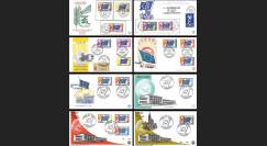 """CE2-19PJCOL : 1958-1976 - Collection 8 FDC """"1er Jour Conseil de l'Europe - Drapeau de l'Europe"""""""
