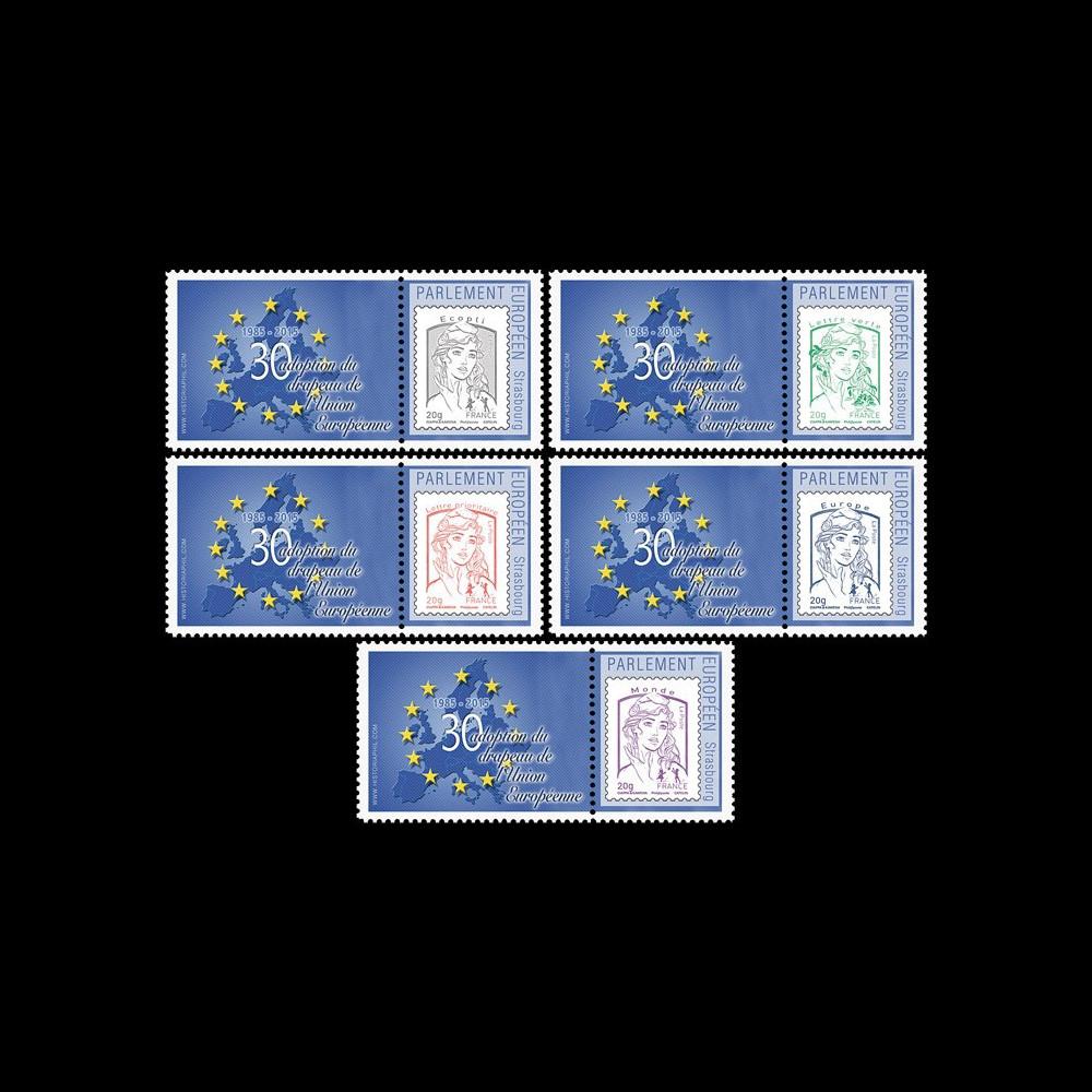 """PE686-PT1/5 : Série 5 Marianne """"30 ans de l'adoption du drapeau de l'Union Européenne"""""""