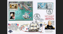"HLF15-16 : 2015 - Maxi FDC FRANCE-USA ""Escale 13 à Boston - L'HERMIONE / LA FAYETTE"""