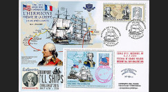 "HLF15-14 : 2015 - Maxi FDC USA-FRANCE ""Escale 11 Greenport - L'HERMIONE / LA FAYETTE"""