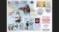 """HLF15-15 : 2015 - Maxi FDC USA-FRANCE """"Escale 12 Newport - L'HERMIONE / LA FAYETTE"""""""