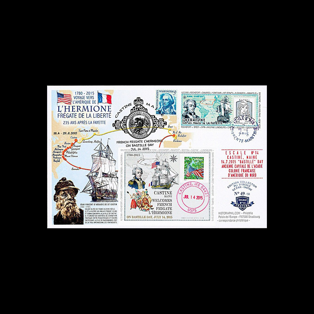 "HLF15-17 : 2015 - Maxi FDC FRANCE-USA ""Escale 14 à Castine - L'HERMIONE / LA FAYETTE"""