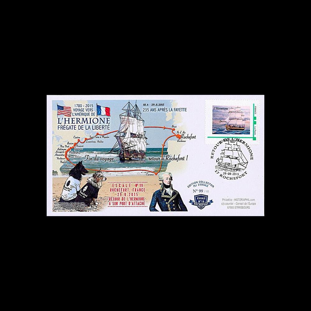 """HLF15-23 : 2015 - FDC FRANCE """"Escale 19 à Rochefort - Frégate L'HERMIONE / LA FAYETTE"""""""
