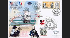 """HLF15-24 : 2015 - Maxi FDC USA-FRANCE """"Escale 19 Rochefort - L'HERMIONE / LA FAYETTE"""""""