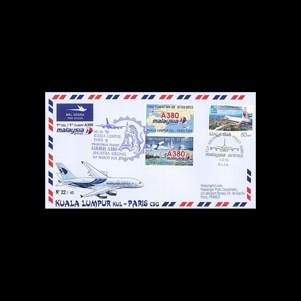 """A380-214T2 : 2013 - FFC MALAISIE """"A380 Malaysia Airlines 1er Vol Kuala Lumpur-Paris"""""""