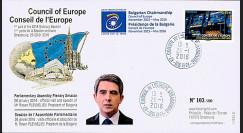"CE67-I : 04-2016 - FDC Conseil de l'Europe ""Visite M. Rosen PLEVNELIV"