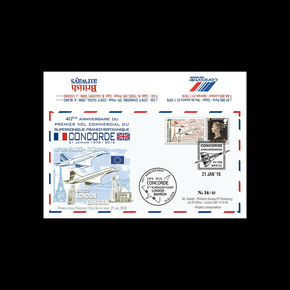 """CO-RET61 : 2016 - FDC ROYAUME-UNI """"Avion CONCORDE - 40 ans 1er vol Londres-Bahreïn"""""""