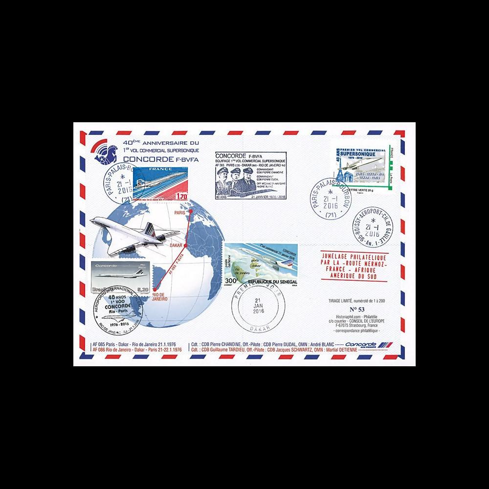 "CO-RET59 : 2016 - Maxi FDC FRANCE-SENEGAL-BRESIL ""CONCORDE - 40 ans 1er vol Paris-Rio"""