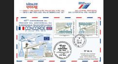 """CO-RET57V : 2016 - FDC VARIETE """"Avion CONCORDE - 40 ans 1er vol Paris-Rio de Janeiro"""""""