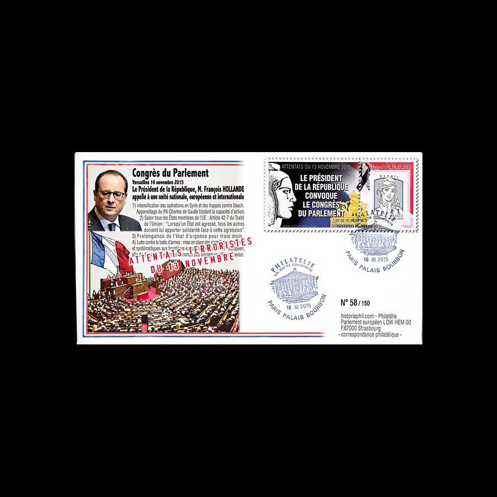 """PE690 : 2015 - FDC FRANCE """"Attentats de Paris - Convocation du Congrès du Parlement"""""""