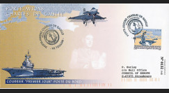 """PADG03T7 : 2003 - FDC """"1er jour TP Porte-avions de Gaulle"""" posté à bord"""