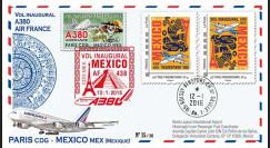 "A380-293V : 2016 - FRANCE FFC VARIETE ""A380 Air France 1er vol Paris-Mexico"""