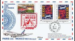 "A380-294V : 2016 - FRANCE FFC VARIETE ""A380 Air France 1er vol Paris-Mexico"""