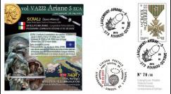 "VA222L-T2 : 2015 - FDC KOUROU ""Fusée ARIANE 5 - Vol 222 / Satellites SICRAL 2 & THOR 7"""