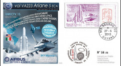 """VA223L-T1 : 2015 - FDC KOUROU """"Fusée ARIANE 5 - Vol 223 / DIRECTV 15 - Airbus Defense & Space"""""""