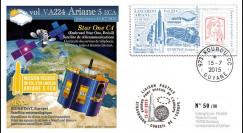 "VA224L-T1 : 2015 - FDC KOUROU ""Fusée ARIANE 5 - Vol 224 / STAR ONE C4 & MSG-4"""