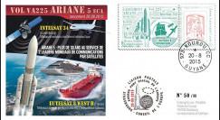 """VA225L-T1 : 2015 - FDC KOUROU """"Fusée ARIANE 5 - Vol 225 / EUTELSAT 8 & INTELSAT 34"""""""