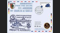 """PADG15-AUG : 2015 - Allemagne FDC """"Frégate Augsbourg protège le PA Charles de Gaulle"""""""