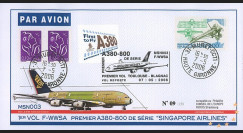 """A380-19T1 : 2006 - FDC France """"1er Vol A380-800 de série / MSN003 de Singapore Airlines"""""""