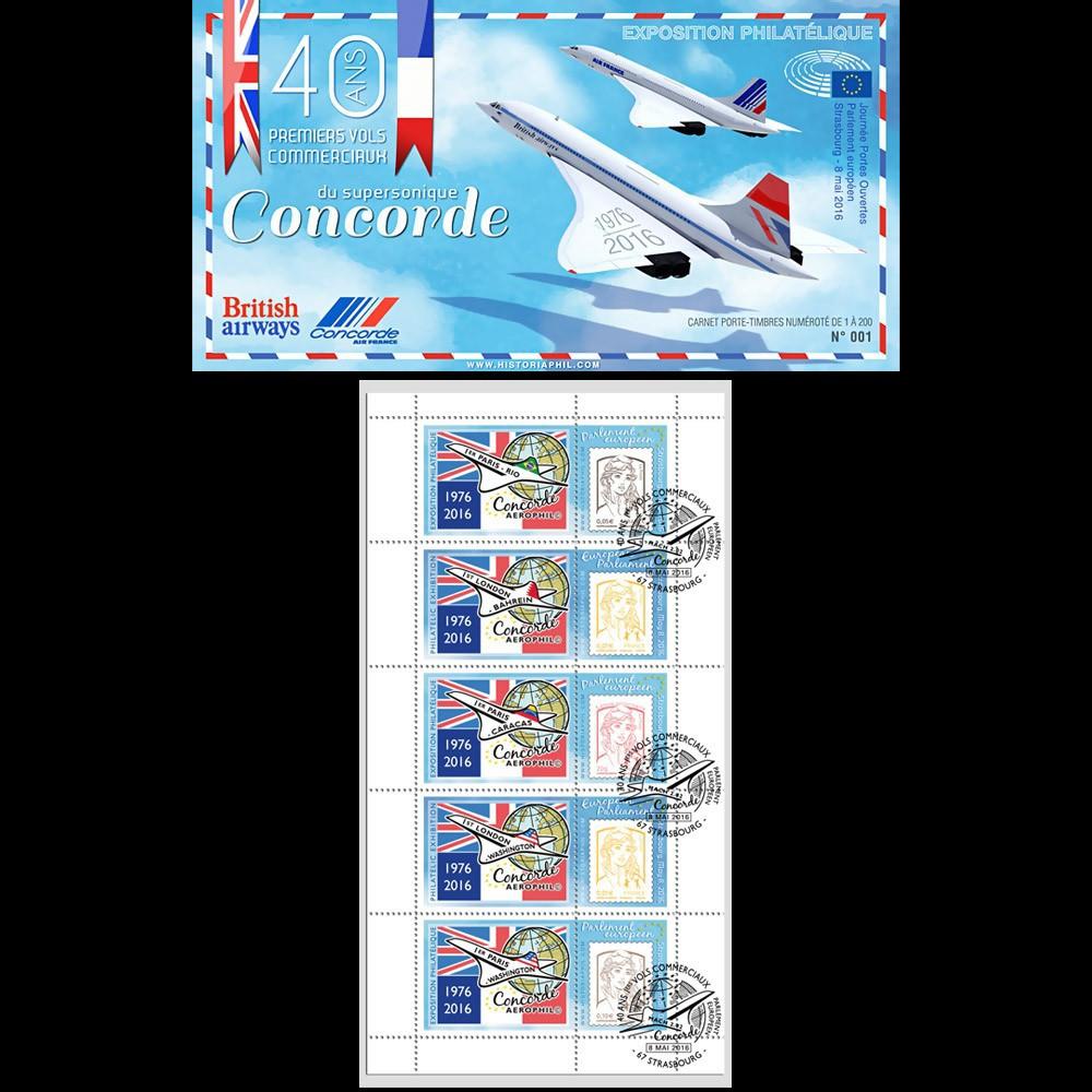 """CO-RET67C : Carnet privé """"40 ans 1ers vols CONCORDE - Parlement européen"""" 8 mai 2016"""