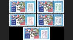 """CO-RET67PT : 5 Porte-timbres """"40 ans 1ers vols Concorde - Parlement européen"""" 8-5-2016"""