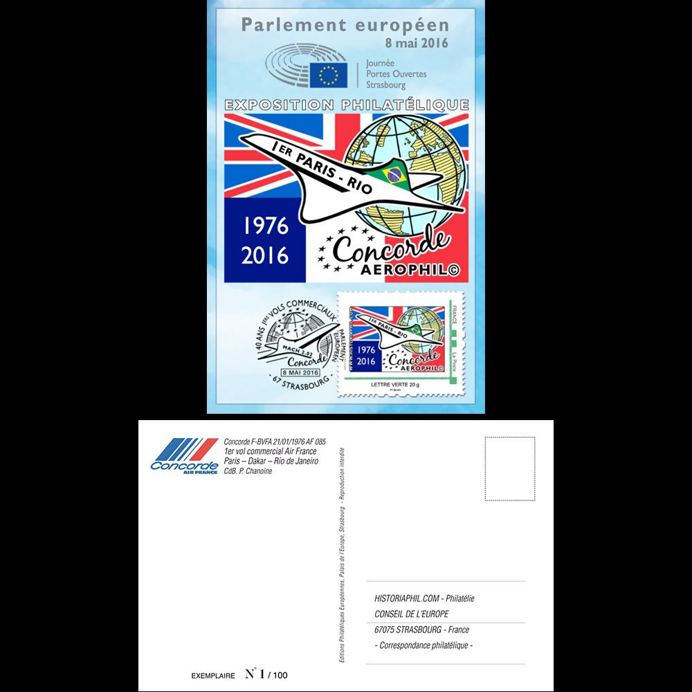"""CO-RET62CM : 8-5-16 - Carte Maxi Parlement européen """"40. 1er vol Concorde Paris - Rio"""""""