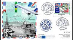 """CO-RET62 : 8-5-16 - FDC 1er Jour Parlement européen """"40 ans 1er vol Concorde Paris - Rio"""""""