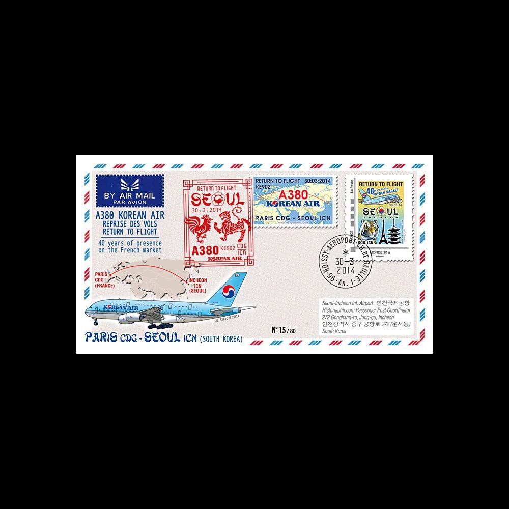 """A380-282T1 : 2014 - FFC FRANCE A380 Korean Air """"Return to Flight Paris - Séoul"""""""