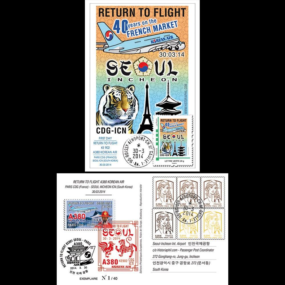 "A380-280 : 2014 - Carte Maxi FRANCE A380 Korean Air ""Return to Flight Paris - Séoul"""