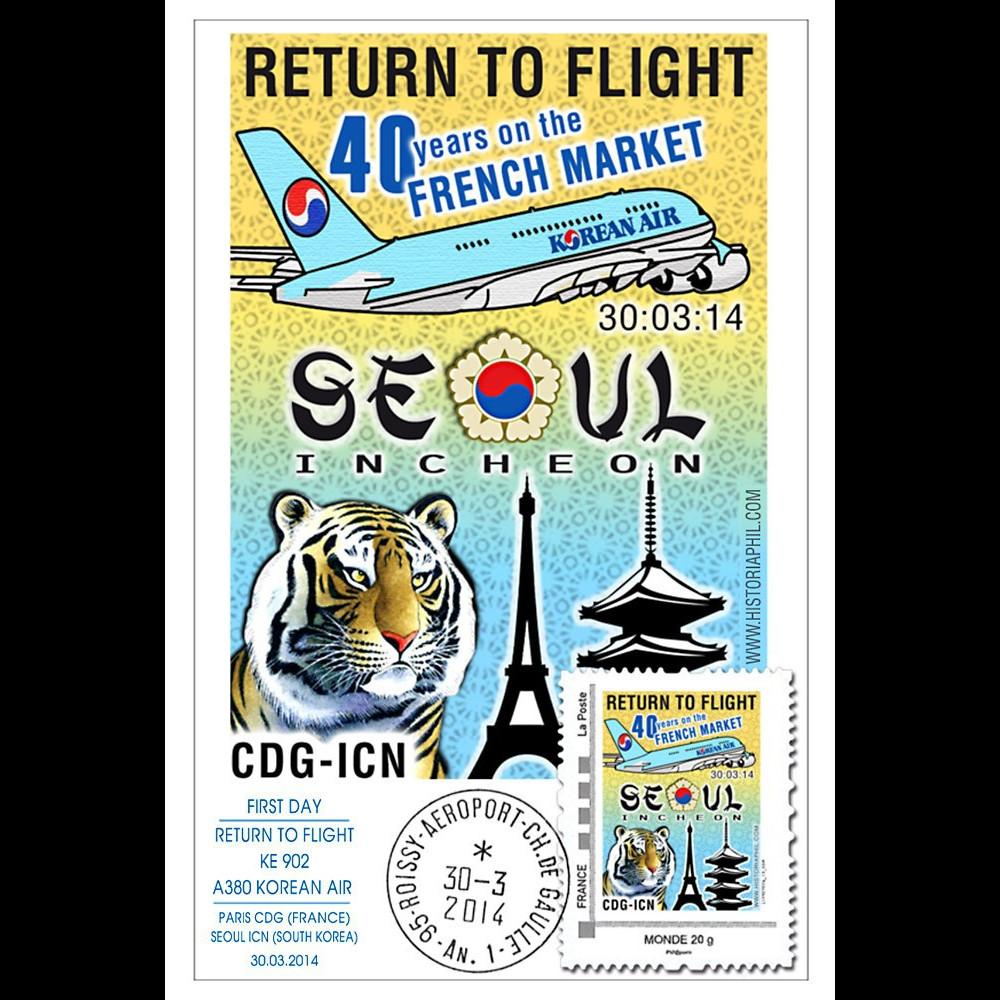 "A380-281 : 2014 - Carte Maxi FRANCE A380 Korean Air ""Return to Flight Paris - Séoul"""