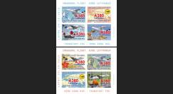 """A380-291BND : 2015 - Vignettes A380 Lufthansa """"1ers vols Francfort - Hong Kong - Francfort"""""""