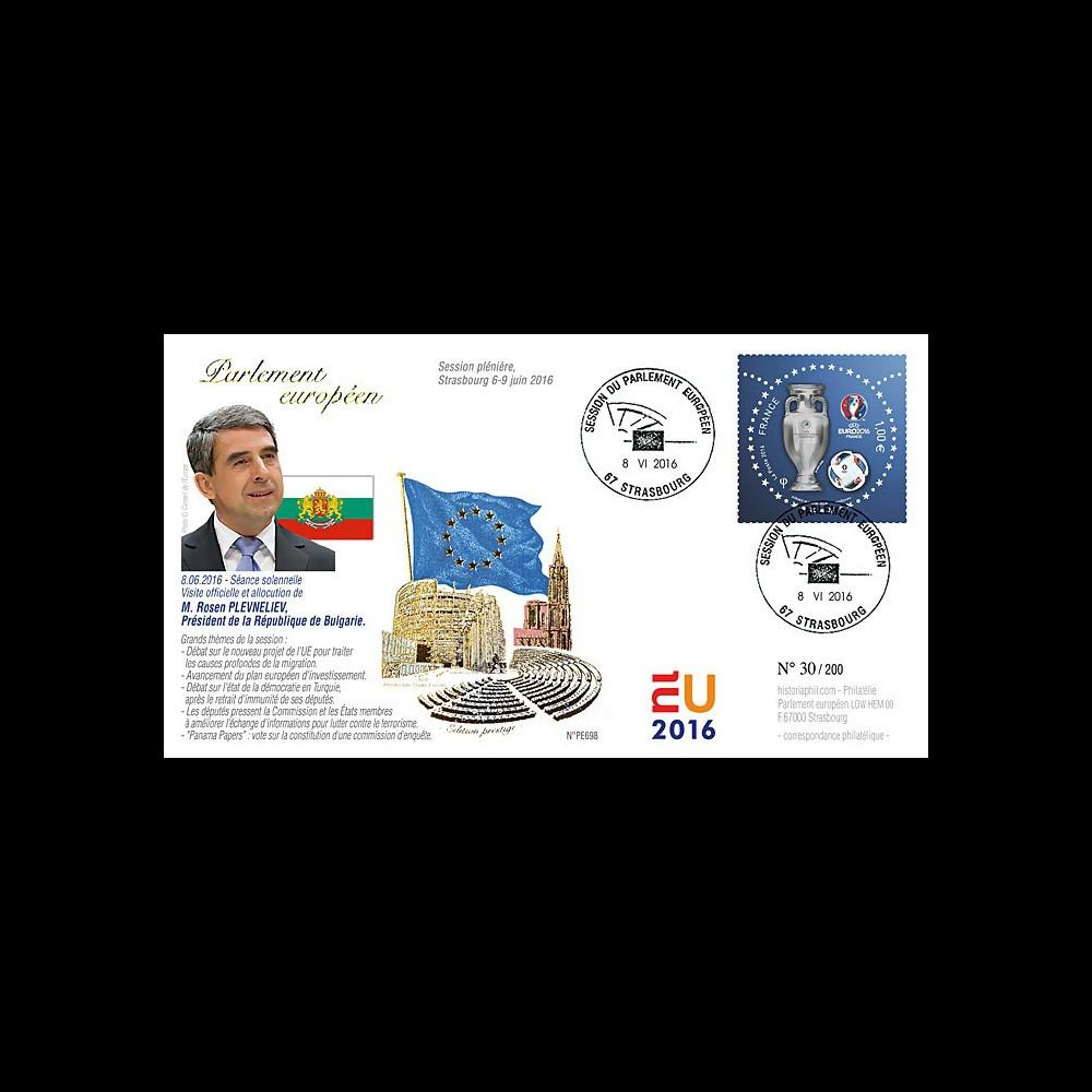 """PE698 : 2016 - FDC Session Parlement eur. """"Discours Président de Bulgarie M. PLEVNELIEV"""""""