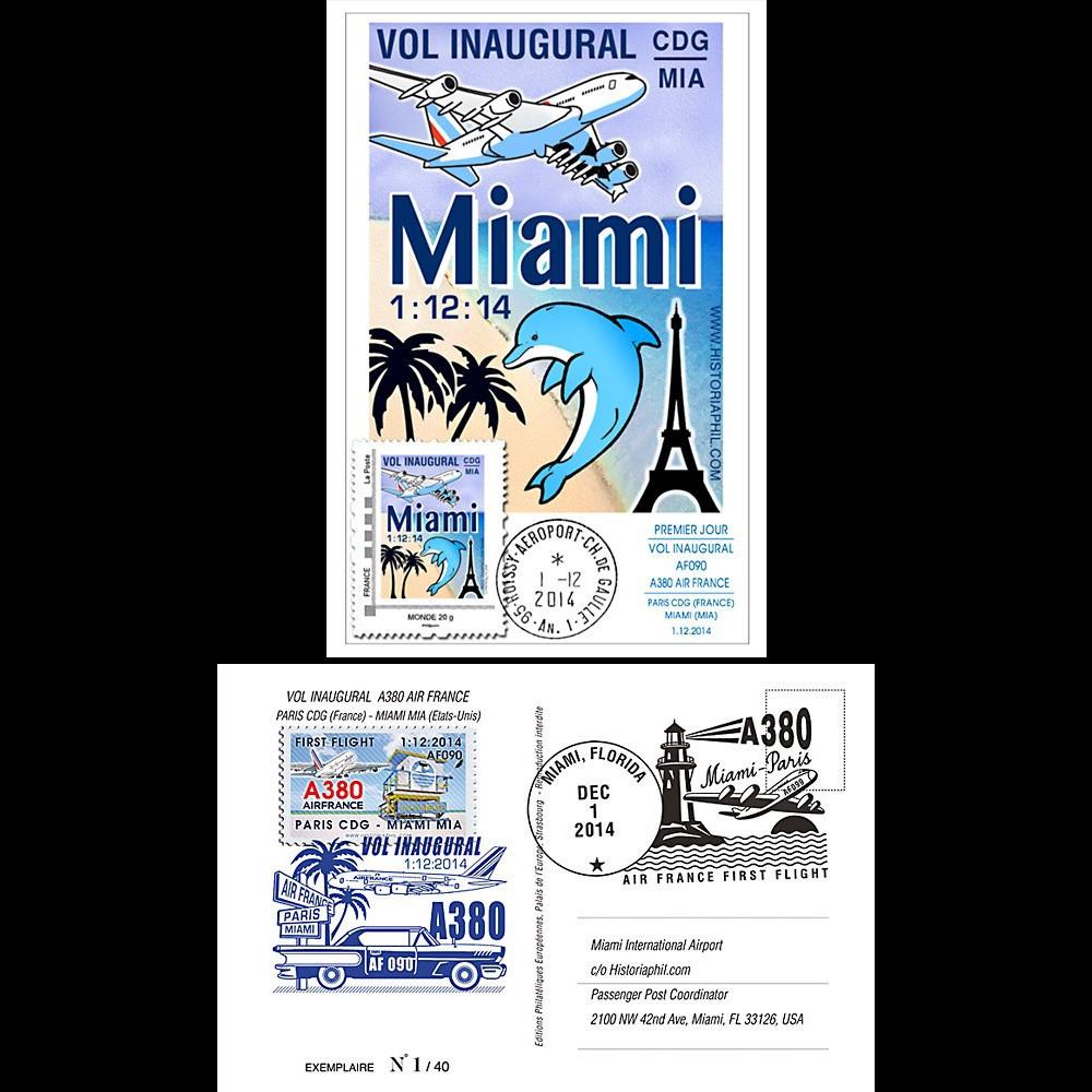 """A380-288 : 2014 - Carte maximum FRANCE """"A380 Air France Vol inaugural Paris-Miami"""""""