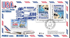 """A380-288V : 2014 - FRANCE FFC VARIETE """"A380 Air France Vol Inaugural Paris-Miami"""""""
