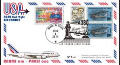 """A380-290T1 : 2014 - FFC USA """"A380 Air France Vol inaugural AF099 Miami-Paris"""" TYPE1"""