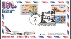 """A380-290T2 : 2014 - FFC USA """"A380 Air France Vol inaugural AF099 Miami-Paris"""" TYPE2"""