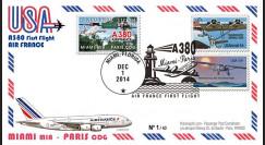 """A380-290T3 : 2014 - FFC USA """"A380 Air France Vol inaugural AF099 Miami-Paris"""" TYPE3"""