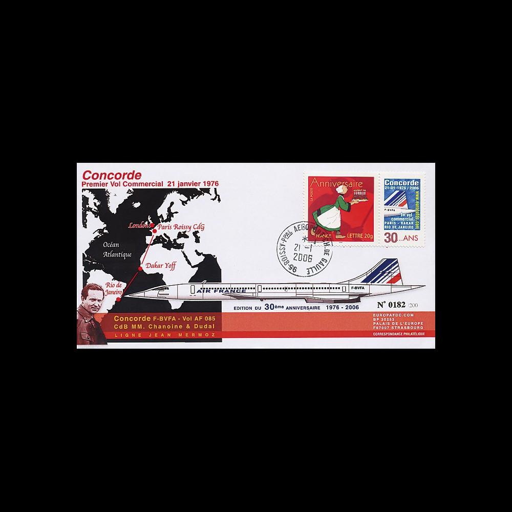 CO-RET23 : 2006 - Pli commémoratif Concorde 30 ans vol Paris-Dakar-Rio