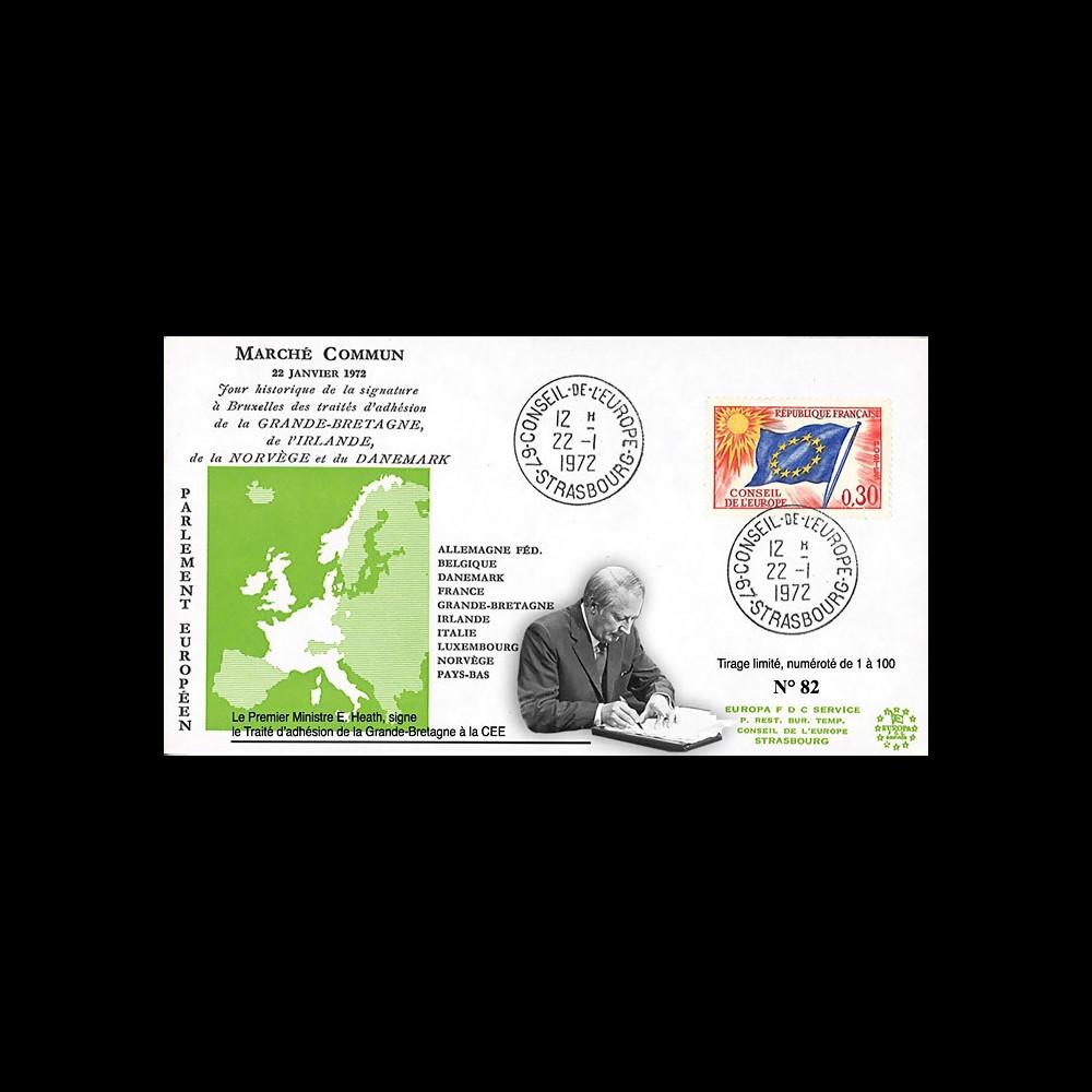 "RD63 : 1972 - FDC ""CEE - Traités adhésion Grande-Bretagne"