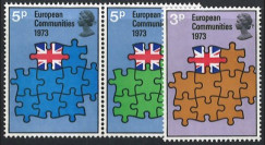 """LE71N : 1973 - Grande-Bretagne série de 3 timbres """"Adhésion à la CEE"""""""