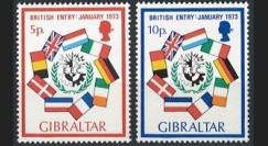 """LE70N : 1973 - Gibraltar (Royaume-Uni) 2 timbres """"Adhésion à la CEE"""""""